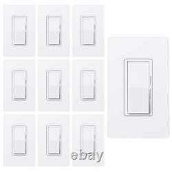 10 Pack Bestten Dimmer Light Switch, Single Pole Or 3 Way, For Dimmable Led Li