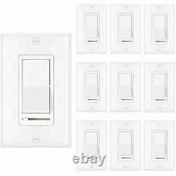 10 Pack Dimmer Light Switch, Single-Pole Or 3-Way, 120V, Compatible With LED, UL