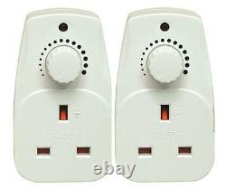 2 PACK-Plug In Adjustable Dimmer Switch Home Lamp Light Intensity Control UK 13A