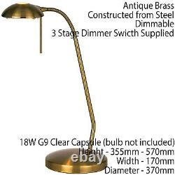 2 PACK Touch Dimmer Table Lamp Light Antique Brass & Adjustable Neck Reading