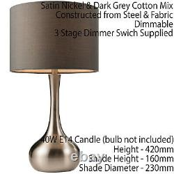 2 PACK Touch Dimmer Table Lamp Satin Nickel & Grey Shade Metal Bedside Light
