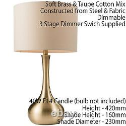 2 PACK Touch Dimmer Table LampBrass & Taupe ShadeMetal Bedside Reading Light