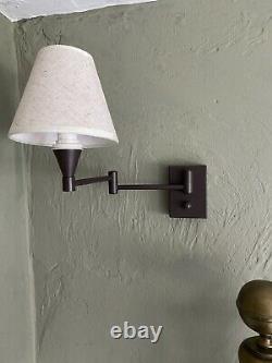 2 x Wayfair Swing Arm Wall Lights Dark Brown Off Black Dimmer On/off Switch