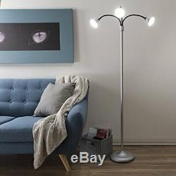 3 Head Floor Lamp, LED Light with Adjustable Arms, Touch Switch and Dimmer by