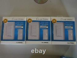 3 Lutron Caseta Wireless Smart Lighting Dimmer Switch & Remote Kit P-PKG1W-WH-R