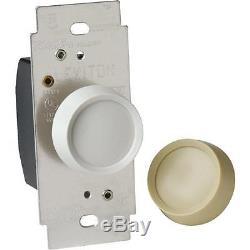 30 Pk Leviton White 600W 120V Rotary Dimmer Light Switch C20-06602-0IW