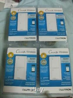4X Caseta Wireless Switches Interrupter For Lights Or Fans LUTRON PD-5ANS-WH-R