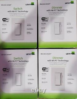 5 units of Leviton Decora Smart Wi-Fi 15 Amp Light Switch R02-DW15S-2RW