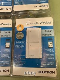 6 X Lutron Caseta Wireless Smart Lighting Switch (PD-5ANS-WH-R) NEW