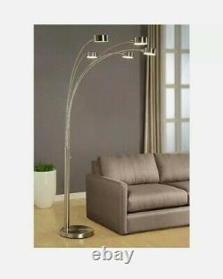 ARTIVA Floor Lamp Modern Arched 88 in Tree Dimmable Brushed Steel Nickel 5-Light