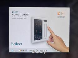 Brilliant Smart Home Control 2-Gang Light Switch Panel (BHA120US-WH2) New