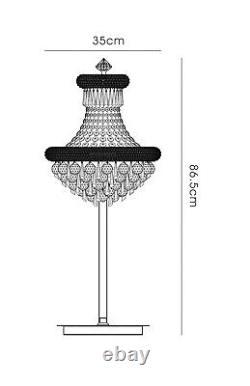 Chrome Crystal Table Lamp 5 Light Large Curved Round spheres hexagonal drops