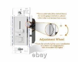 Cloudy Bay in Wall Dimmer Switch with Green Indicator, for LED Light/CFL/Inca