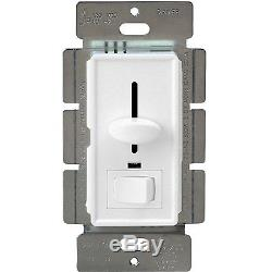 Decorator Slide Wall Dimmer Light Switch 3-Way White Knob + Cover LED Indicator