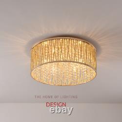 Emilia Design Large Crystal Drum Flush Ceiling Light, Gold RRP £295
