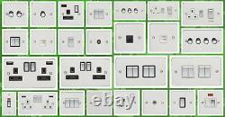 Flat Plate Brushed Stainless Standard Or Led Dimmer Light Cooker Switch Socket