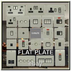 Flat Plate Brushed Steel Led Or Standard Dimmer. Light Switch. Socket Outlet Etc