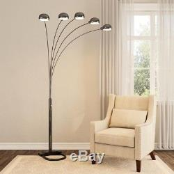 Floor Lamp 84 in. Single Base Rotary Dimmer Switch 5 Light Arc Arms Metal Base