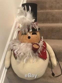 Folk Art Snowman Christmas Gourd Doll With Dimmer Switch Light