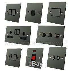 Full Range Flat Plate Black Nickel Light Switch Socket Outlet Dimmer Electrical