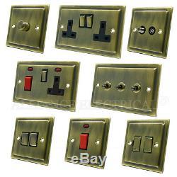 Full Range Victorian Antique Brass Dark Bronze Light Switch Socket Outlet Dimmer