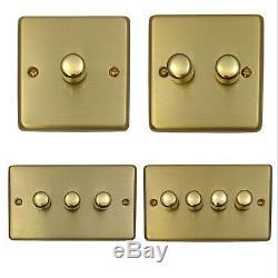 G&H Standard Plate Brushed Brass 1 2 3 4 Gang V-Pro LED Dimmer Light Switch