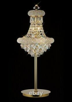 Gold Crystal Table Lamp 5 Light Large Curved Round spheres hexagonal drops