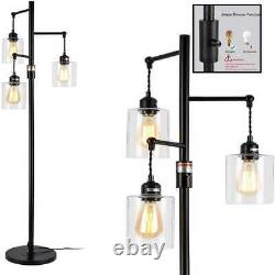 Industrial Floor Lamp W On/Off Dimmable Switch 3 Head Rustic Tree Standing Ediso