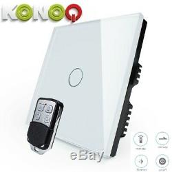 KONOQ Glass Panel Touch LED Light Smart SwitchWHITE REMOTE DIMMER 1GANG/1WAY