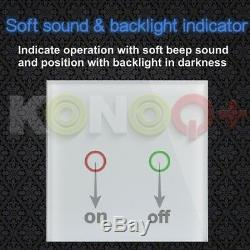 KONOQ+ Luxury Glass Panel Touch LED Light Smart Switch DIMMER, White, 1Gang/1Way