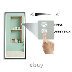 LED Full Length Mirror Wall Mounted Lighted Make Up Mirror Dimmer Touch Switch