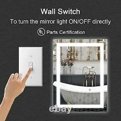 LED Lighted Vanity Bathroom Mirror, Wall Mounted Anti Fog & Dimmer Touch Switch