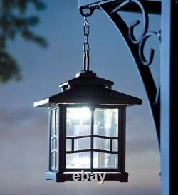 LED Solar Path Lantern with Shepherd's Hook in Bronze, Set of 2