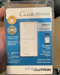 LOT OF 5 Lutron Caseta Wireless In-Wall Light/Fan Switch PD-5ANS-WH-R White NEW