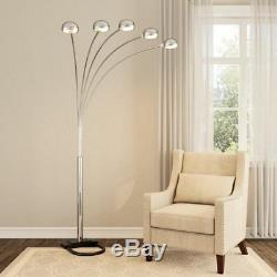 Lamp Arch Floor Light Lighting Arm Arms Dimmer Switch Metal Base Satin Nickel