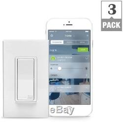 Leviton Smart Light Switch Dimmer 15 Amp Programmable Smart Home Enabled 3-Pack