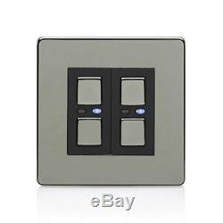 LightwaveRF JSJSLW420BLK 2 Gang 1 Way 250 W Master Light Dimmer Switch Black C