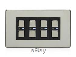 LightwaveRF JSJSLW440C 4 Gang 1 Way 210 W Master Light Dimmer Switch Chrome
