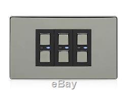 Lightwaverf JSJSLW430BLK 3 Gang 1 Way 210 W Master Light Dimmer Switch Black