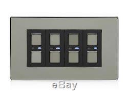 Lightwaverf JSJSLW440BLK 4 Gang 1 Way 210 W Master Light Dimmer Switch Black
