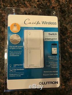 Lutron Caseta Wireless In-Wall Light/Fan Switch PD-5ANS-WH-R New 4 pack