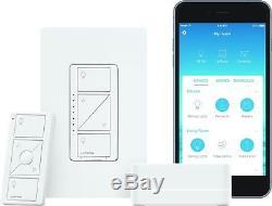 Lutron Caseta Wireless Smart Lighting Dimmer Switch Starter Kit P-BDG-PKG1W W