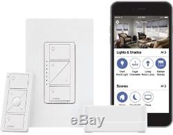 Lutron Wireless Smart Home Lights Switch Dimmer Kit with Smart Bridge, White