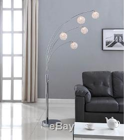 Modern 5 Light Arched Floor Lamp Crystal Ball Chrome Dimmer Switch Contemporary
