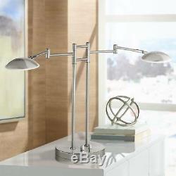 Modern Swing Arm Desk Lamp 2 Light LED Satin Nickel Dimmer Switch for Office
