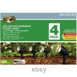 Outdoor Landscape Flood Light Integrated LED Adjustable Color Black 4.5W 4-Pack