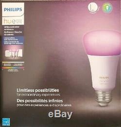 Philips Hue Color Smart Bulb Starter Kit 3 Bulbs Light Dimmer Switch Bridge Hub