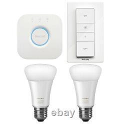 Philips Hue White Ambiance Smart Light Kit 2 Bulbs + Hue Bridge + Dimmer Switch