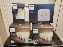 Philips Hue smart light Bridge Dimmer Switch 4x 8x A19 bulbs complete set NEW