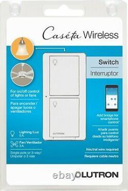 Qty 10 Lutron Caseta Wireless 5-Amp Single-Pole/3-Way White Smart Light Switch
